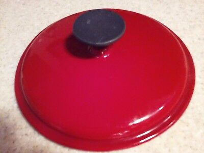 "8 1/4"" Cast Iron Pot LID, Red Exterior - White Interior, Good Condition"