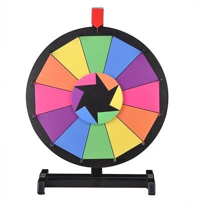 """WinSpinâ""""¢ 15"""" Tabletop Editable Color Prize Wheel 12 Slot Spinning Game with"""