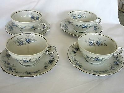 WINTERLING BAVARIA GERMANY 4 CUP & SAUCER SETS BLUE ROSES Excellent Condition