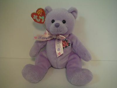 "Ty 2.0 Beanie Babies~Love To Mom~8""~Purple Bear~New~2007~W/ Code~Mwmt~Free S/h"
