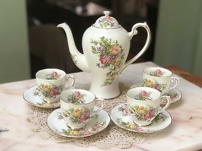 Antique Vintage Roslyn Royal Rose Coffee Afternoon Coffee Pot Set 4 Cup Saucers