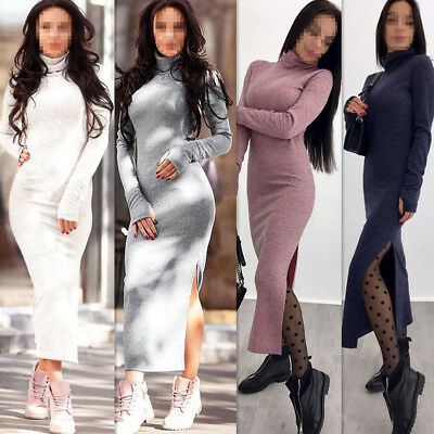 50b45d53 Winter Women High Neck Long Sleeve Bodycon Sweater Slim Knitted Maxi Split  Dress