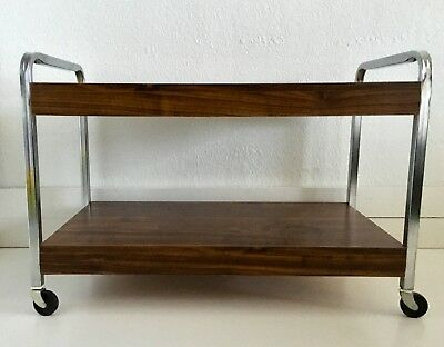 VTG Mid Century Modern 2 Tier Record Player LP TV Rolling Cart Metal Wood Chrome