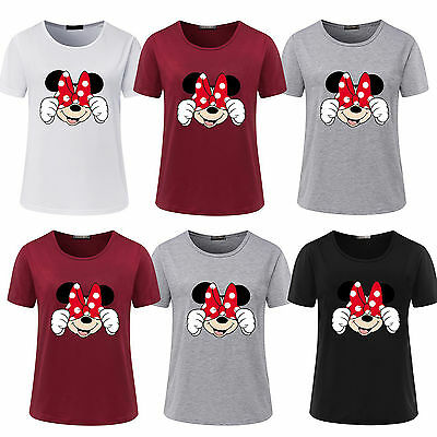 Fashion Women's Short Sleeve Summer Minnie Mouse Blouse Casual Tops T-Shirt Tees