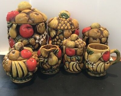 Vintage 1970's Fruit Ceramic 12 Piece Canister Set W/ Creamer Set Made In Japan