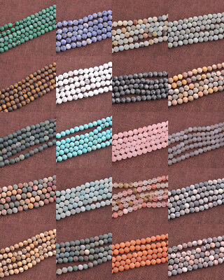 Wholesale Lot Natural Gemstone Round Matte Spacer Loose Beads 4-12MM