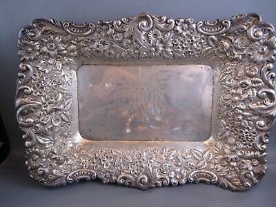 RARE 1800's REPOUSSE LORING ANDREWS STERLING SILVER  SQUARE TRAY