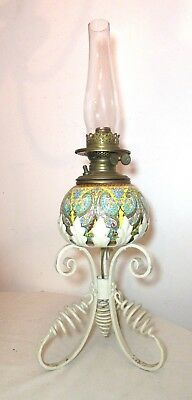 antique Mettlach German enameled pottery wrought iron stand electrified oil lamp