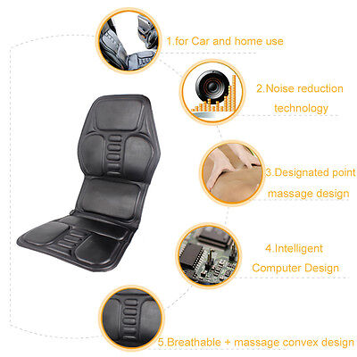 Top 2 IN 1 7 Motor Massaging Back Massage Seat Pad Massager Chair Cushion CarCH