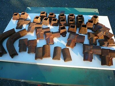 (43) Assorted Vintage Rusty Cast Iron Ornamental Railing Architectural Pieces