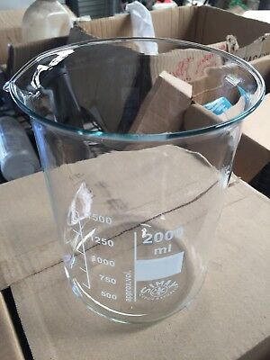 2000ml 2 Litre Low Form Glass Beaker Simex Brand New Graduated With Spout