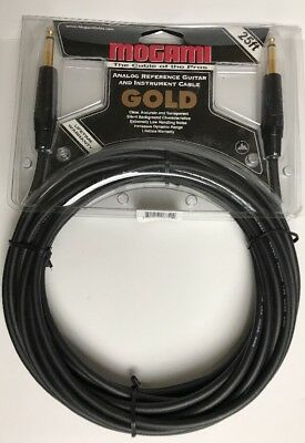 "Mogami Gold Series Straight Instrument Guitar Bass Cable 1/4"" Inch TS 25 ft"