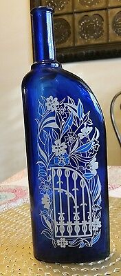 Wine Bottle 2000 Ungsteiner Kobnert German 750ml Cobalt Blue Floral Glass Art