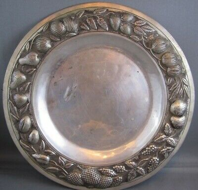 ANTIQUE 1900's MEXICAN 900 SILVER PLATE FRUIT REPROUSSE  B.CARRILLO  PRE-TAXCO