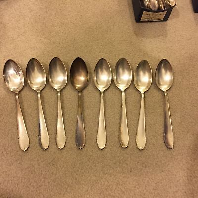 Eight Vintage Silverplate Large Heavy-Duty Table Spoons Wirths 90-45 Nice