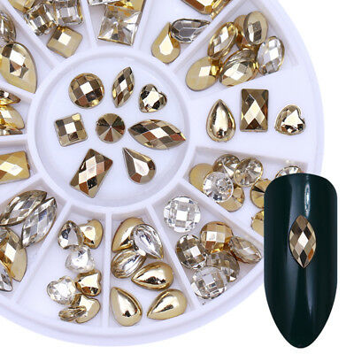 Double-sided Nail Art Rhinestone Marquise Heart Studs 3D Decoration in Wheel DIY