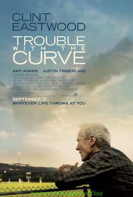 TROUBLE WITH THE CURVE MOVIE POSTER DS 27x40  CLINT EASTWOOD + BASEBALL BONUS!!!