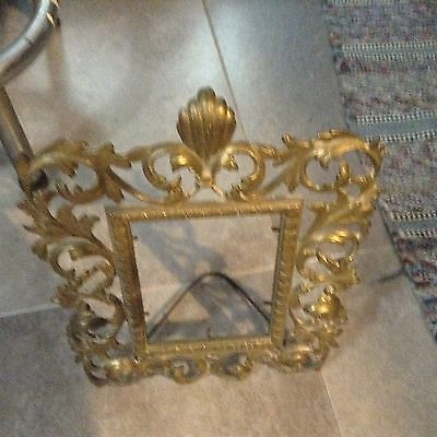 SCARCE RARE antique Vintage Brass Picture Frame Ornate Fancy Scroll Work Details