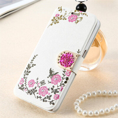 Womens Ladies Flip Floral Flower Butterfly Print Magnetic Case Cover For iPhone