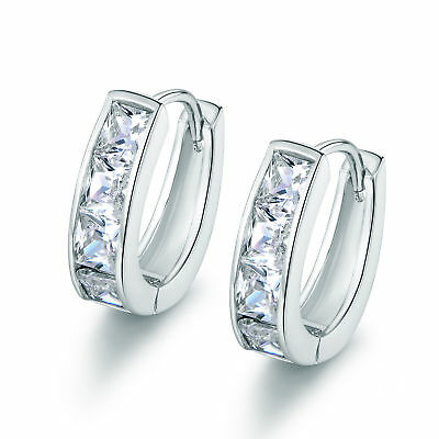 Classic 4-Stone Square Swarovski Crystal Inlay Silver Gold Filled Lady Earrings