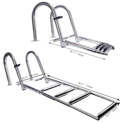 Premium Stainless Folding Rear Entry Pontoon Boat Ladder w/ Extra Wide Step