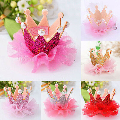 Charm Baby Girl Crown Princess Hair Clip Lace Pearl Shiny Star Hair Lace Pearl
