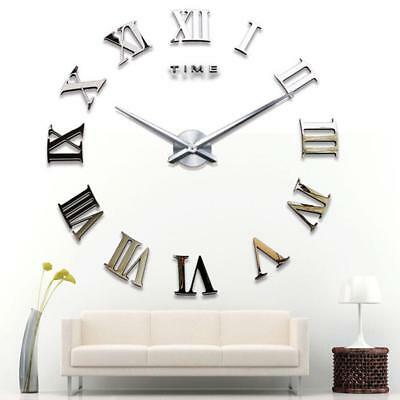 Large DIY 3D Roman Number Mirror Wall Clock Sticker Art Decor for Home Kids Room