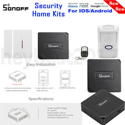 Sonoff RF Bridge 433 Smart WiFi Control DW1 Window /Door PIR2 Motion Sensor HEB1