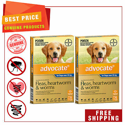 ADVOCATE for Dogs Over 25 Kg BLUE Pack 12 Pipettes + EXTRA 4 Pipettes AU Stock