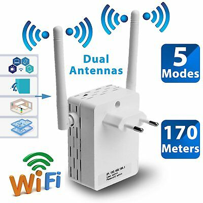 White Dual Antenna 300Mbps Wifi Repeater Wireless Range Extender 802.11N Booster