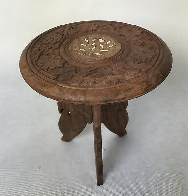 Vintage Carved Wood Table Flower Pot Plant Stand Stool