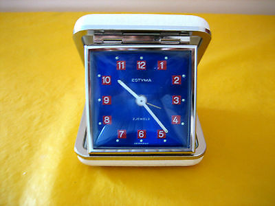 Vintage Estyma 2 Jewel Travelling Alarm Clock, WORKING ORDER  (0.3/453)