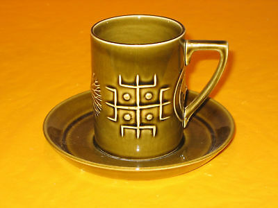 PORTMEIRION TOTEM coffee CUP&SAUCER  GREEN,~firing marks&crazing on saucer~