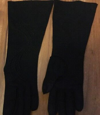 "Womens Vintage Black Gloves 12"" Long Cloth"