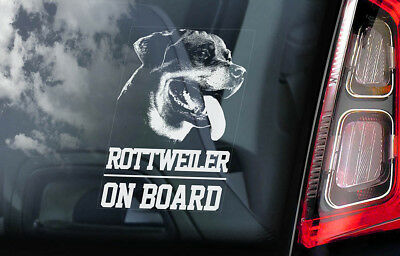 Rottweiler on Board - Car Window Sticker - Rottie Beware of Dog Sign Decal - V01