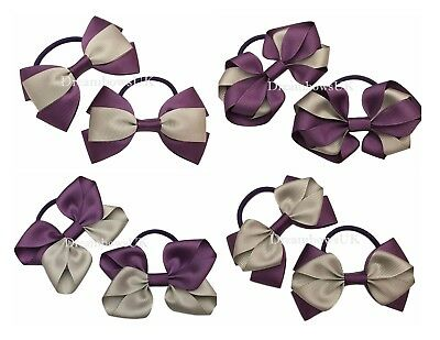 Purple and grey ribbon hair bows, Bobbles or clips, School hair accessories