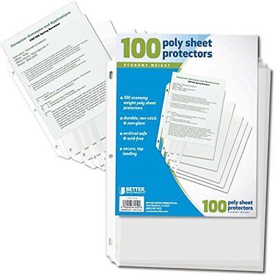 100 Clear Plastic Poly Sheet Page Protectors Sleeves Document Office Keep Papers