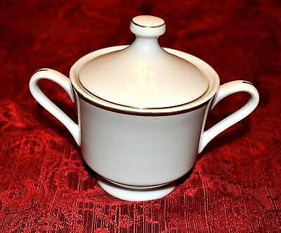 Fine China White with Gold Trim Dinnerware Piece - SUGAR BOWL WITH LID