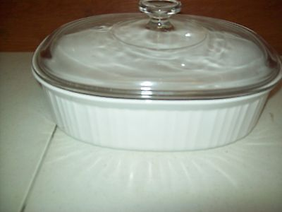 "Corning Ware French White 11"" x 8 1/2"" Oblong Casserole F-2-B 2.8 Liter w/ Lid"