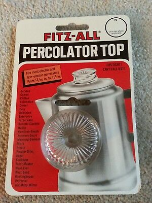 """Tops Fitz-All Replacement Percolator Top  Glass #135  13/16"""" to 1 1/2""""   NEW"""