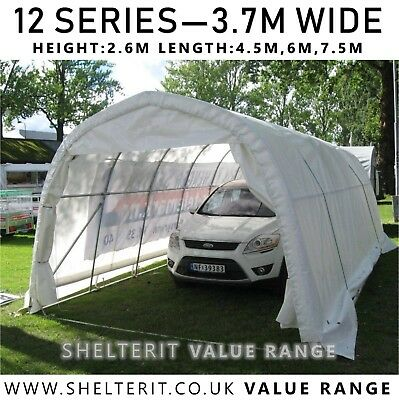 12 Series - Industrial Steel Frame Shelter - Heavy Duty PVC - Car/Boat Garage