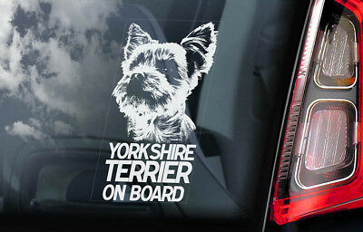 Yorkshire Terrier on Board - Car Window Sticker - Yorkie Sign Decal Gift - V01