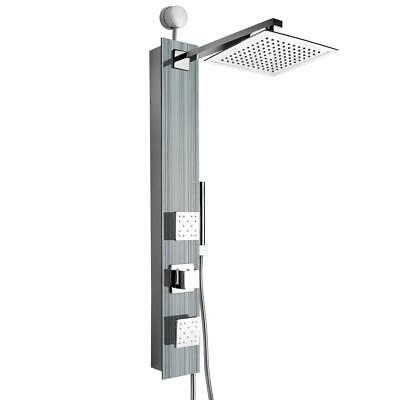 """AKDY 35"""" 2-Jet Shower Panel System in Silver Tempered Glass SP0060"""