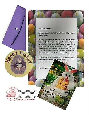 Personalized Letter from EASTER BUNNY with Autographed Photo, sticker & more!