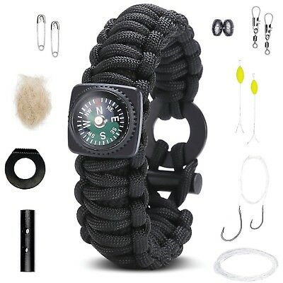 Survival Bracelet: Best Paracord Wristband With Compass Wrist Strap Rescue Gear.