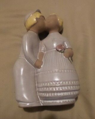Jie Gantofta Sweden Dutch Boy Girl Lilac Pussen Mid-Century Pottery Labeled