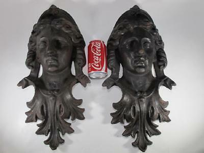 Large pair of Victorian cast iron Neoclassical Woman faces circa 1880