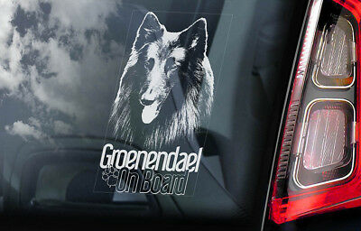 Groenendael on Board - Car Window Sticker - Belgian Shepherd Sign Decal Gift V01