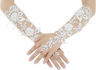 WDING Long Fingerless Lace Bridal Gloves for Formal Wedding Prom Party white
