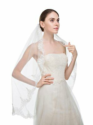 WANNISHA Womens Simple Veil Wedding Veil with Comb for Bridal With Lace